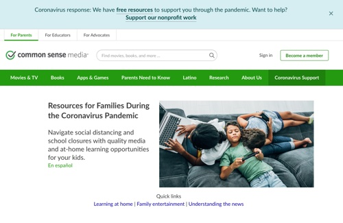 Commonsense media for parents